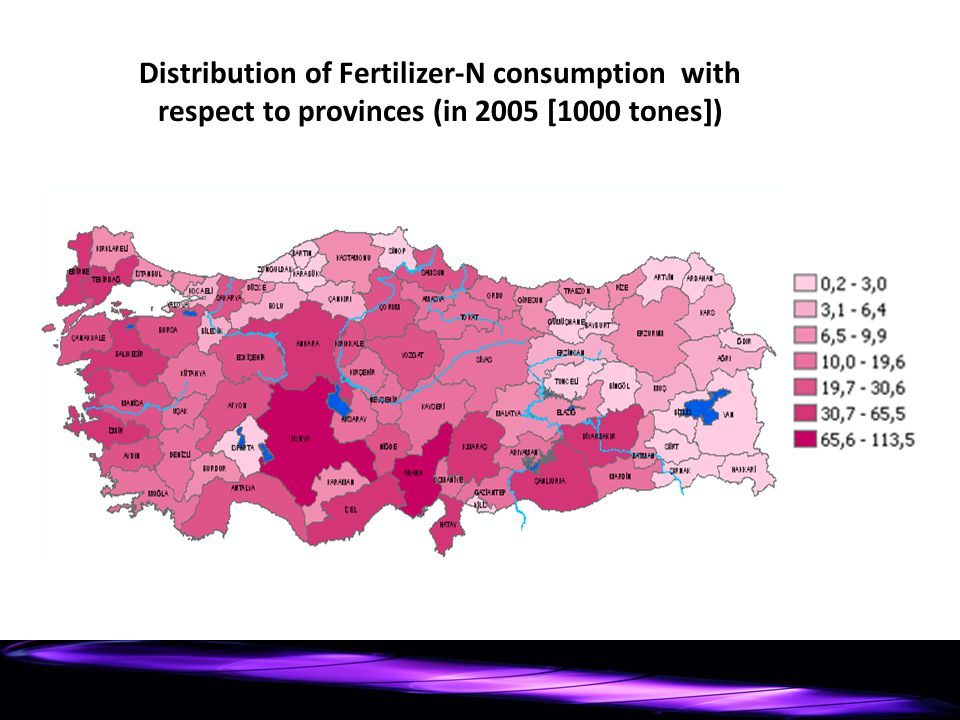 Distribution of Fertilizer-N consumption with respect to provinces (in 2005 [1000 tones])